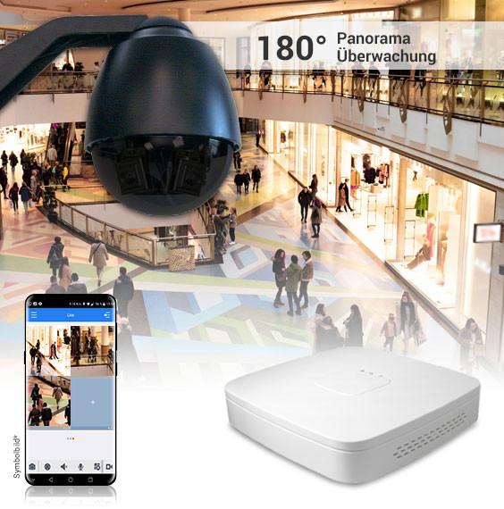 Indoor-Dome 270Grad Panorama 3x2MP Kamera inkl. Rekorder / EasyHD Wandmontage