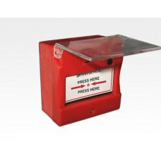 Meldetaster rotes Gehäuse mit transparenter Abdeckung / 86x86x50mm