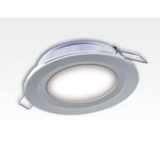 6W LED Einbau Downlight silber rund Neutral Weiß 1,5m Kabel / 4000-4500K 450lm 24VDC IP65 120Grad