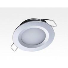 2W LED Einbau Downlight silber rund Warm Weiß 1,5m Kabel / 2700-3200K 180lm 24VDC IP65 120Grad