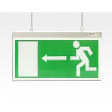 Abverkauf LED Fluchtwegleuchte seitlich an Seil abhängend / 340x170mm Akku >3h EN60598-1;-2-22
