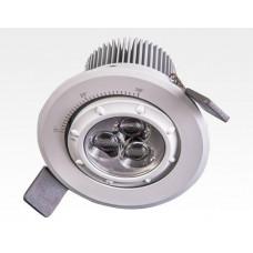 7W LED Fokus Einbauspot weiß rund Warm Weiß / 3000K 450lm 230VAC 12-38Grad