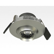 3W LED Fokus Einbauspot silber rund Warm Weiß / 3000K 200lm 230VAC 10-60Grad