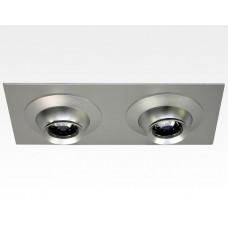 6W LED Fokus Doppel Einbauspot silber rechteckig Warm Weiß / 3000K 400lm 230VAC 10-60Grad