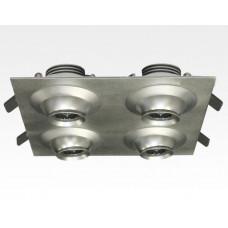 12W LED Fokus Vierfach Einbauspot silber quadratisch Warm Weiß / 3000K 800lm 230VAC 10-60Grad