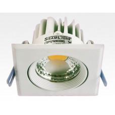 3W LED Einbau Spotleuchte weiß quadratisch Neutral Weiß / 4000-4500K 180lm 230VAC IP44 65Grad