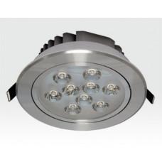 9W LED Einbau Spotleuchte silber rund Warm Weiß / 2700-3200K 585lm 230VAC IP40 120Grad