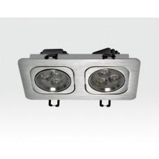 6W LED Einbau Spotleuchte silber rechteckig Warm Weiß / 2700-3200K 360lm 230VAC IP40 120Grad