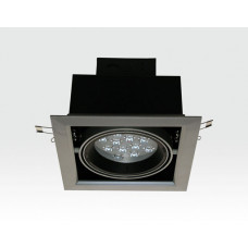 12W LED Einbau Spotleuchte silber quadratisch Warm Weiß / 2700-3200K 780lm 230VAC IP40 120Grad