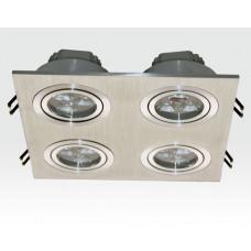 12W LED Einbau Spotleuchte Alu gebürstet quadratisch Warm Weiss / 2700-3200K 780lm 230VAC IP40 35Grad