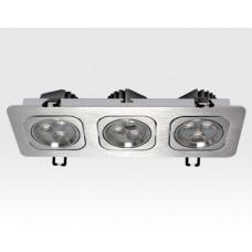 9W LED Einbau Spotleuchte silber rechteckig Warm Weiß / 2700-3200K 585lm IP40 230VAC 120Grad