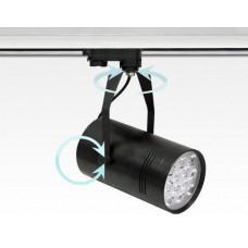 12W LED Leuchte schwarz dimmbar 3 Phasen Schienen 24Grad 1027lm / Neutral Weiss 4000-4500K D100mm 230VAC -Ausstellungsstück mit kleinen Schönheitsfehler