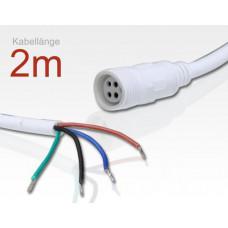 Anschlusskabel 4Polig RGB 2m weiss für LTWWAP*RGB Serie / 1x Stecker Weiblich, 1x offenes Ende