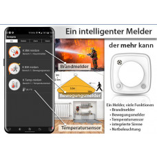 5 in 1 Komplett Paket -Brand-Alarm-Temperatur inkl. Smartphone Alarm