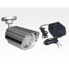 Infrarot-LED Scheinwerfer 60m 120Grad Aussen IP68 inkl. PSU / 54 IR- LED integr. Dämmerungsschalter
