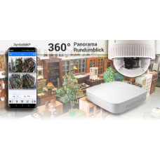 Indoor-Dome mit 360 Grad Panorama 4x2MP Kamera inkl. Recorder / EasyHD Deckenaufbau Version