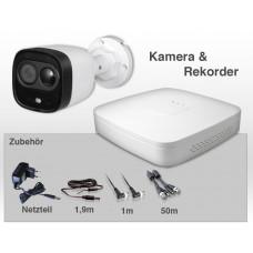 6 Teile - Dahua Video Komplett-Set - Steckerfertig - Inteligente Kamera mit Rekorder Spannungsversorgung Videokabel und Montagematerial
