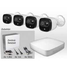 22 Teile - Dahua Video Komplett-Set - Steckerfertig - Rekorder mit 4 Kameras inkl. Zentralnetzteil Video-Kombikabel mit Stecker