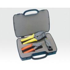 Crimp-Werkzeugset für Koaxstecker 3 teilig im Servicekoffer / Kabelschneider, Abisolierw. ,Crimpzange