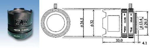 """1/2"""" Objektiv  12mm / CS  12.0  F1.4-16C  30.4 Manual Ir"""