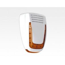 Hi-Tech Aussen Sirene rote LEDs in weiss / EN50131 Grad2 Alarmansage LED-Fluter