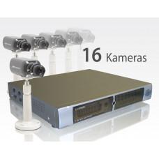 Jubiläums- Videoüberwachung 'Paket 16fach Recorder / mit 16 Zoomkameras