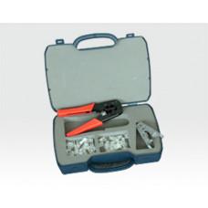 Modular Werkzeugset für Westernstecker 4 teilig im Servicekoffer / Crimpzange, Abisolierw., RJ11, RJ45
